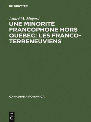 cover image of Une minorité francophone hors Québec