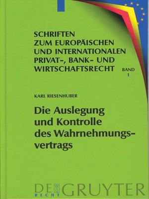 cover image of Die Auslegung und Kontrolle des Wahrnehmungsvertrags