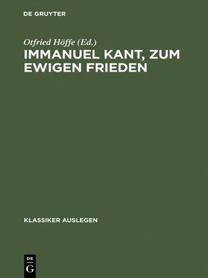 cover image of Immanuel Kant, zum ewigen Frieden