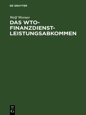 cover image of Das WTO-Finanzdienstleistungsabkommen