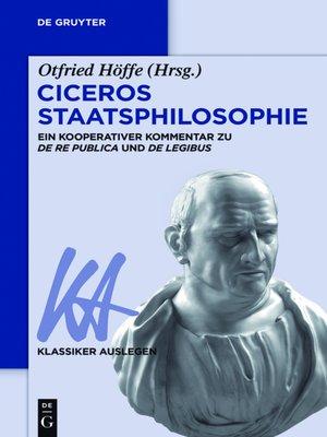 cover image of Ciceros Staatsphilosophie