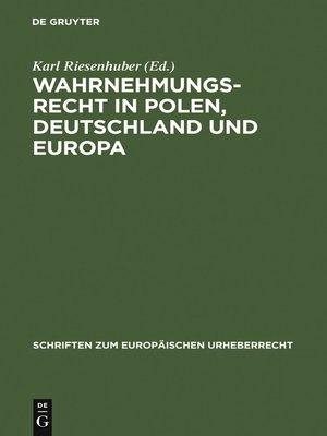 cover image of Wahrnehmungsrecht in Polen, Deutschland und Europa