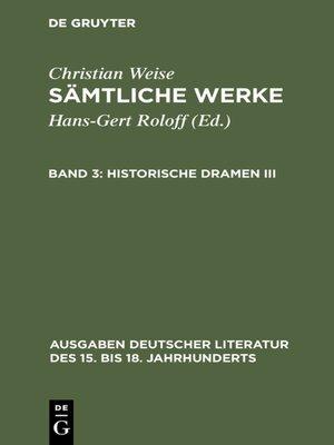 cover image of Historische Dramen III