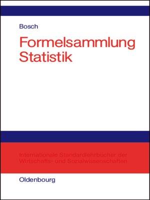 cover image of Formelsammlung Statistik