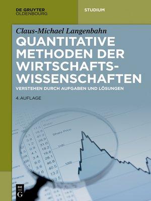 cover image of Quantitative Methoden der Wirtschaftswissenschaften