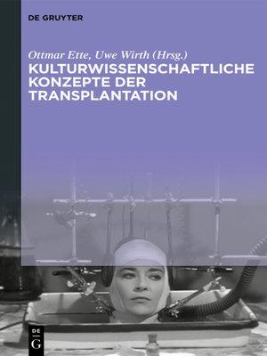 cover image of Kulturwissenschaftliche Konzepte der Transplantation