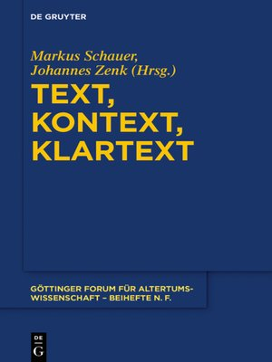 cover image of Text, Kontext, Klartext