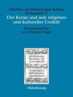 cover image of Der Koran und sein religiöses und kulturelles Umfeld