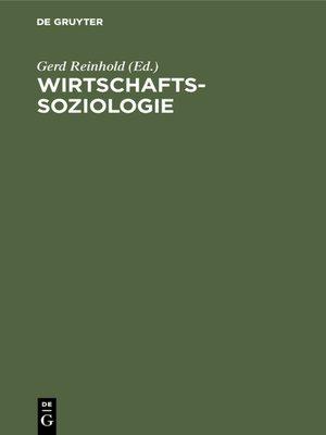 cover image of Wirtschaftssoziologie