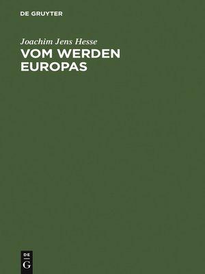 cover image of Vom Werden Europas