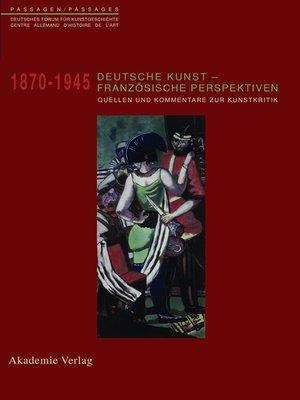 cover image of Deutsche Kunst--Französische Perspektiven
