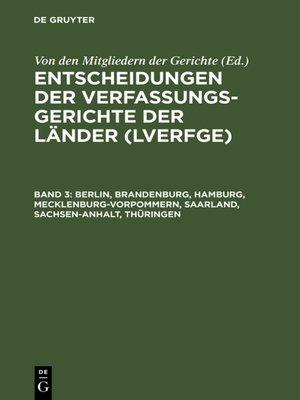 cover image of Berlin, Brandenburg, Hamburg, Mecklenburg-Vorpommern, Saarland, Sachsen-Anhalt, Thüringen