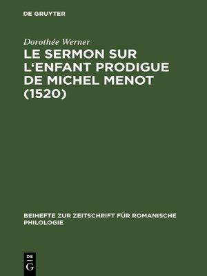cover image of Le sermon sur l'Enfant prodigue de Michel Menot (1520)
