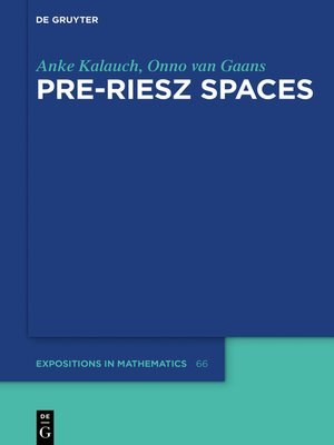 cover image of Pre-Riesz Spaces