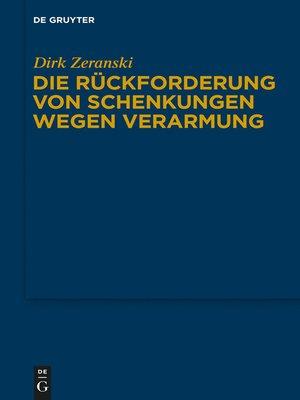 cover image of Die Rückforderung von Schenkungen wegen Verarmung