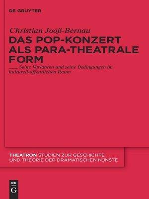 cover image of Das Pop-Konzert als para-theatrale Form