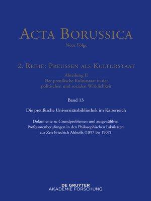 cover image of Preußische Universitätspolitik im Deutschen Kaiserreich