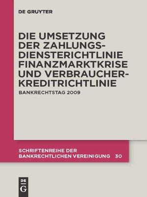 cover image of Die zivilrechtliche Umsetzung der Zahlungsdiensterichtlinie