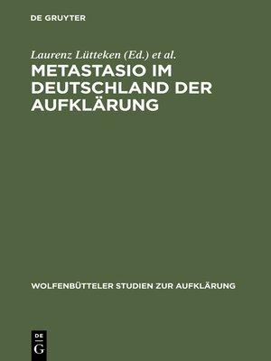 cover image of Metastasio im Deutschland der Aufklärung