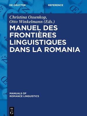 cover image of Manuel des frontières linguistiques dans la Romania