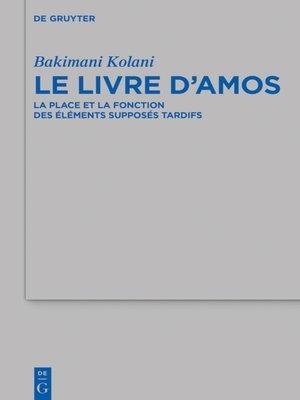 cover image of Le livre d'Amos