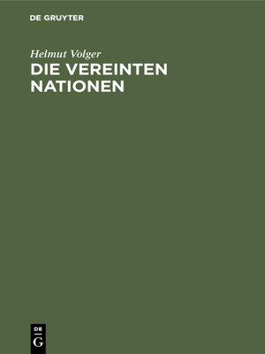 cover image of Die Vereinten Nationen