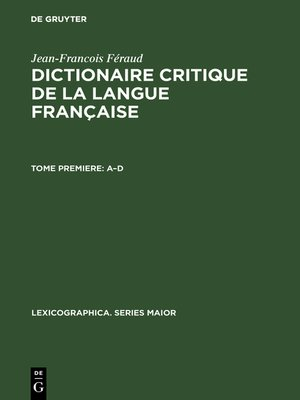 cover image of Dictionaire critique de la langue française
