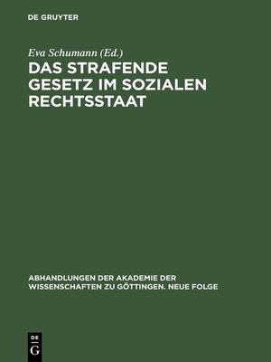 cover image of Das strafende Gesetz im sozialen Rechtsstaat