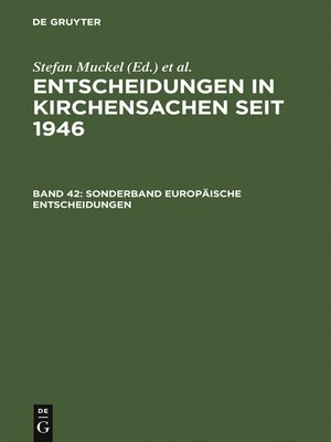 cover image of Sonderband Europäische Entscheidungen