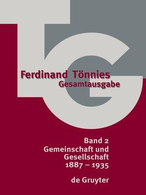 cover image of Ferdinand Tönnies Gesamtausgabe, Band 2