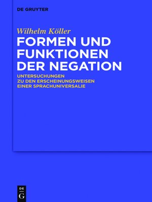cover image of Formen und Funktionen der Negation