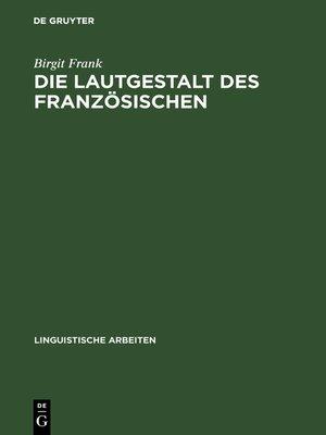 cover image of Die Lautgestalt des Französischen