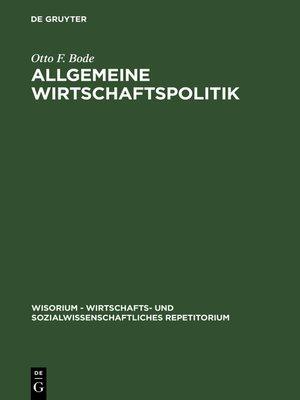 cover image of Allgemeine Wirtschaftspolitik