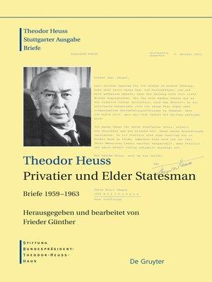 cover image of Theodor Heuss, Privatier und Elder Statesman