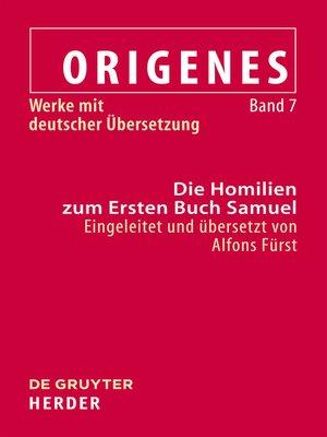 cover image of Die Homilien zum Ersten Buch Samuel