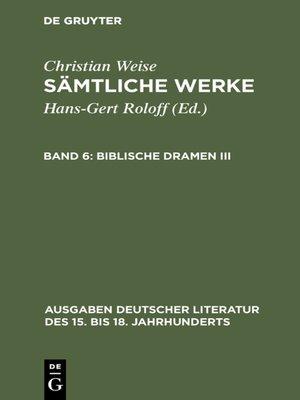 cover image of Biblische Dramen III