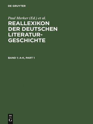 cover image of Reallexikon der deutschen Literaturgeschichte