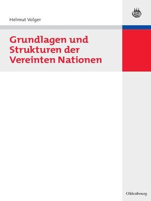 cover image of Grundlagen und Strukturen der Vereinten Nationen