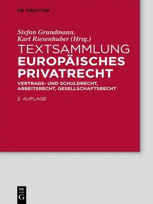 cover image of Textsammlung Europäisches Privatrecht