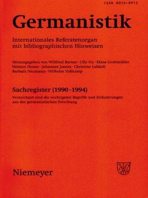 cover image of Germanistik, Sachregister (1990-1994)