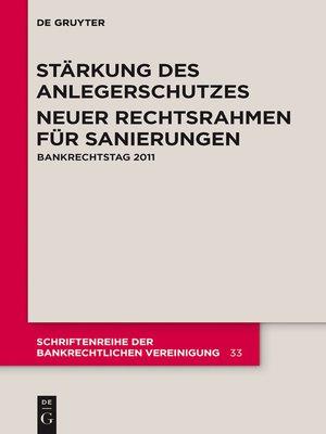 cover image of Stärkung des Anlegerschutzes. Neuer Rechtsrahmen für Sanierungen.