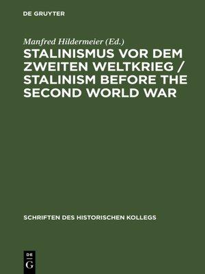 cover image of Stalinismus vor dem Zweiten Weltkrieg / Stalinism before the Second World War