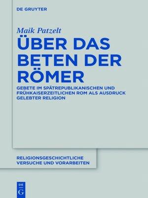 cover image of Über das Beten der Römer