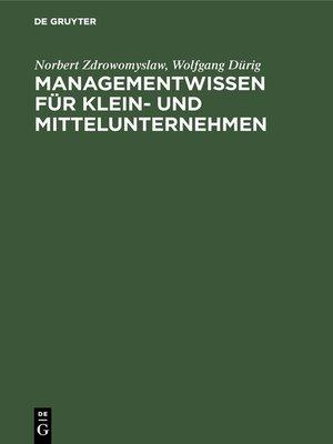 cover image of Managementwissen für Klein- und Mittelunternehmen