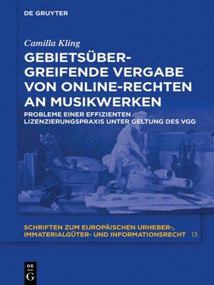 cover image of Gebietsübergreifende Vergabe von Online-Rechten an Musikwerken