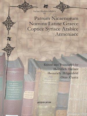 cover image of Patrum Nicaenorum Nomina Latine Graece Coptice Syriace Arabice Armeniace