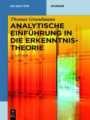 cover image of Analytische Einführung in die Erkenntnistheorie