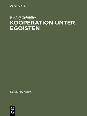 cover image of Kooperation unter Egoisten