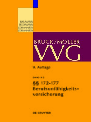 cover image of Bruck/Möller VVG 9. Auflage Band 8/2 §§ 172-177 (Berufsunfähigkeitsversicherung)