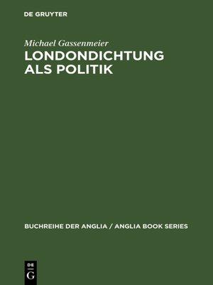 cover image of Londondichtung als Politik